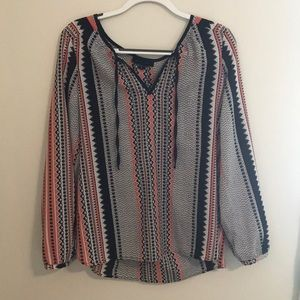 Patterned polyester blouse